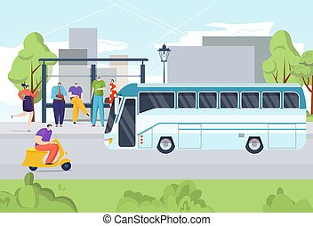 Bus public people transportation, travel from bus stop street road vector illustration. Passenger character waiting at transport station