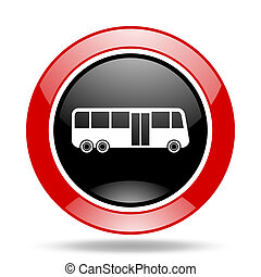 bus red and black web glossy round icon