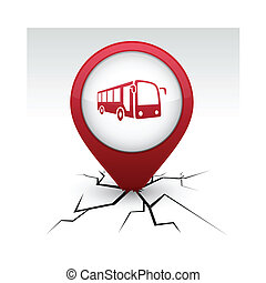 Bus red icon in crack. - Bus modern icon. Vector ...