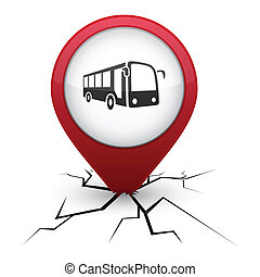 Bus red icon in crack. - Bus modern icon. Vector...