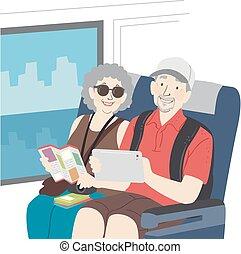 bus, reis, paar, senior, illustratie