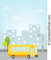 bus rides around town. vector image