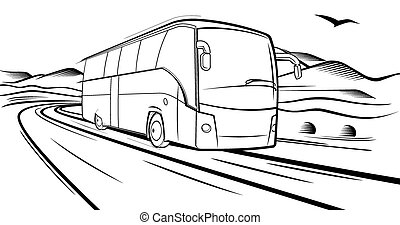bus rides on the road - Vector sketch, Bus quickly rides on...