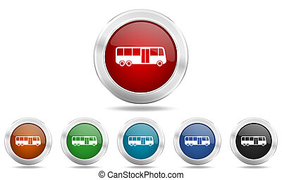 bus round glossy icon set, colored circle metallic design internet buttons