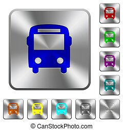 Bus rounded square steel buttons