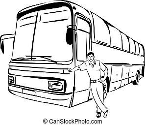 bus, schets, zijn, bestuurder, man