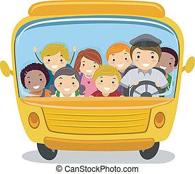 bus, school geitjes