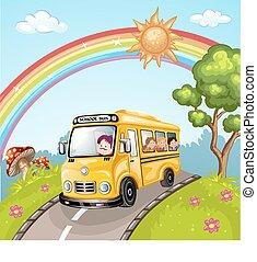 bus, school geitjes, illustratie