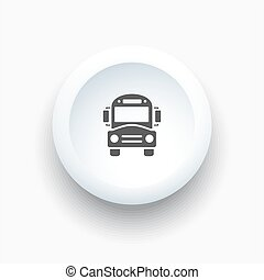 Bus school icon on a white button