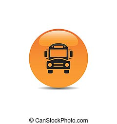 Bus school icon on an orange button