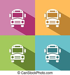 Bus school icon with shadow on colored backgrounds