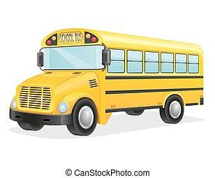 bus, school, vector, illustratie