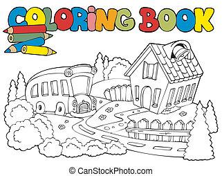 bus, schule, farbton- buch