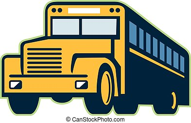 bus, schule, retro, weinlese