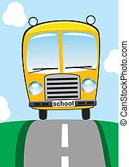 bus, schule, straße