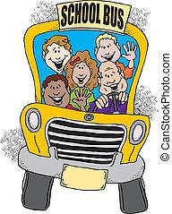 bus, schule, zurück