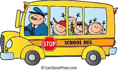 bus, schulkinder, glücklich