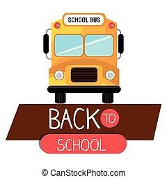 bus scuola, indietro, giallo, isolato, disegno