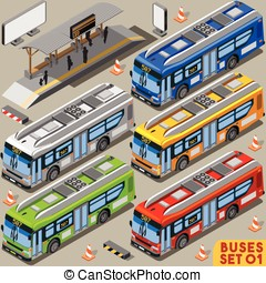 Bus Set 01 Vehicle Isometric - High Quality City Bus Line...