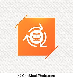 Bus shuttle icon. Public transport stop symbol. Orange...