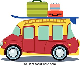 Bus Side View With Heap Of Luggage Vector Illustration