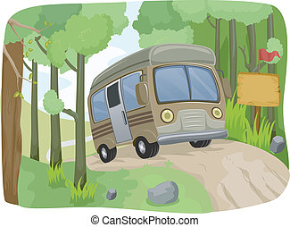 Bus Sign Dirt Road - Illustration of a Bus Passing a Blank...