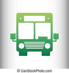 Bus sign. Green gradient icon