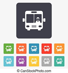 Bus sign icon. Public transport with driver symbol. Rounded squares 11 buttons. Vector