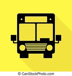 Bus sign illustration. Black icon with flat style shadow path on yellow background.