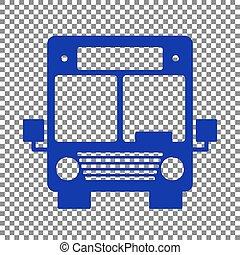 Bus sign illustration. Blue icon on transparent background.