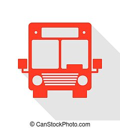 Bus sign illustration. Red icon with flat style shadow path.