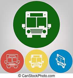 Bus sign illustration. Vector. 4 white styles of icon at 4 colored circles on light gray background.