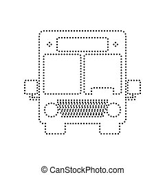 Bus sign illustration. Vector. Black dotted icon on white background. Isolated.