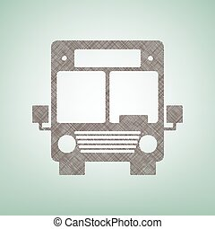 Bus sign illustration. Vector. Brown flax icon on green background with light spot at the center.