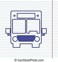 Bus sign illustration. Vector. Navy line icon on notebook paper as background with red line for field.