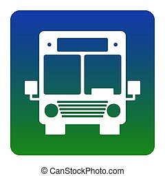 Bus sign illustration. Vector. White icon at green-blue gradient square with rounded corners on white background. Isolated.