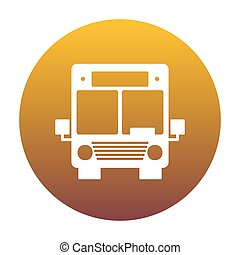 Bus sign illustration. White icon in circle with golden gradient