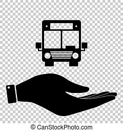Bus sign. Save or protect symbol