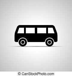 Bus silhouette, simple black phone icon