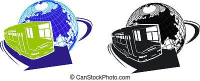 bus, silhouette, spotprent, toerist