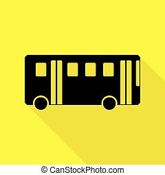 Bus simple sign. Black icon with flat style shadow path on yellow background.