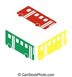 Bus simple sign. Isometric style of red, green and yellow icon.
