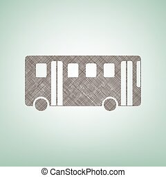 Bus simple sign. Vector. Brown flax icon on green background with light spot at the center.