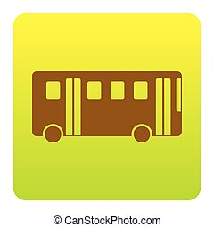 Bus simple sign. Vector. Brown icon at green-yellow gradient square with rounded corners on white background. Isolated.
