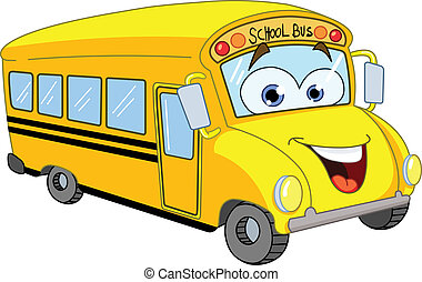 bus, skole, cartoon