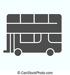 Bus solid icon. Double-decker bus vector illustration isolated on white. London city tour bus glyph style design, designed for web and app. Eps 10.