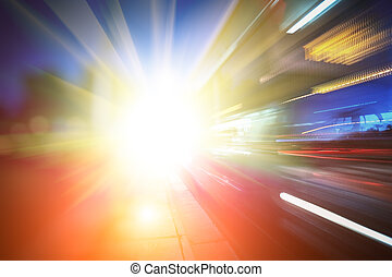 Abstract futuristic background - Bus speeding through city...