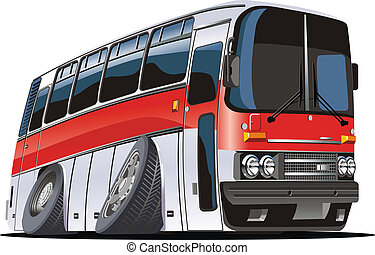 bus, spotprent, toerist