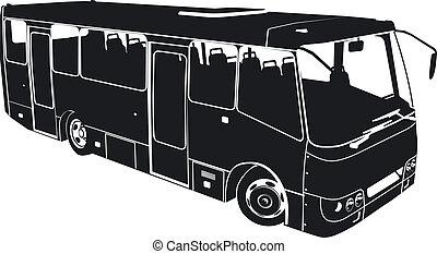 bus, stad, silhouette