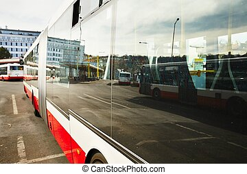 Bus station - Buses are waiting at the bus station -...